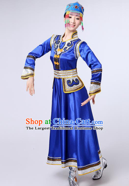 Chinese Traditional Mongol Nationality Royalblue Dress Mongolian Ethnic Folk Dance Costume for Women