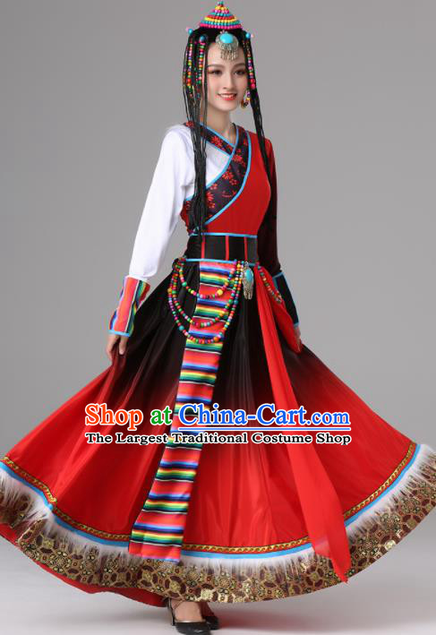 Chinese Traditional Zang Nationality Red Dress Tibetan Ethnic Folk Dance Costume for Women