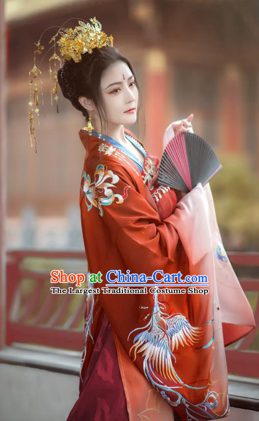 Chinese Traditional Tang Dynasty Wedding Red Hanfu Dress Ancient Royal Princess Costumes for Women