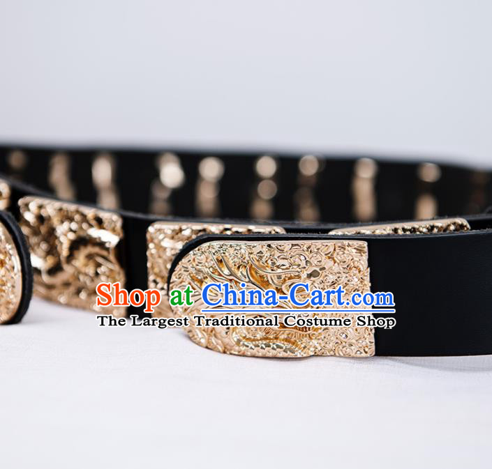 Chinese Ming Dynasty Emperor Leather Belts Traditional Ancient Royal Highness Waistband for Men