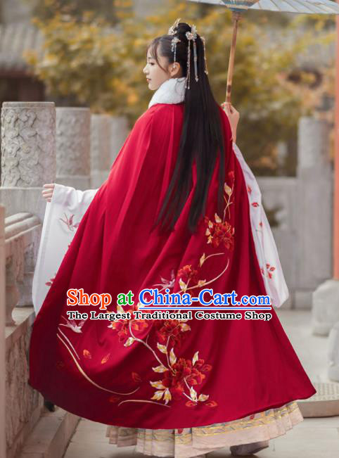 Chinese Traditional Hanfu Embroidered Peony Red Cloak Ancient Royal Princess Cape Costumes for Women