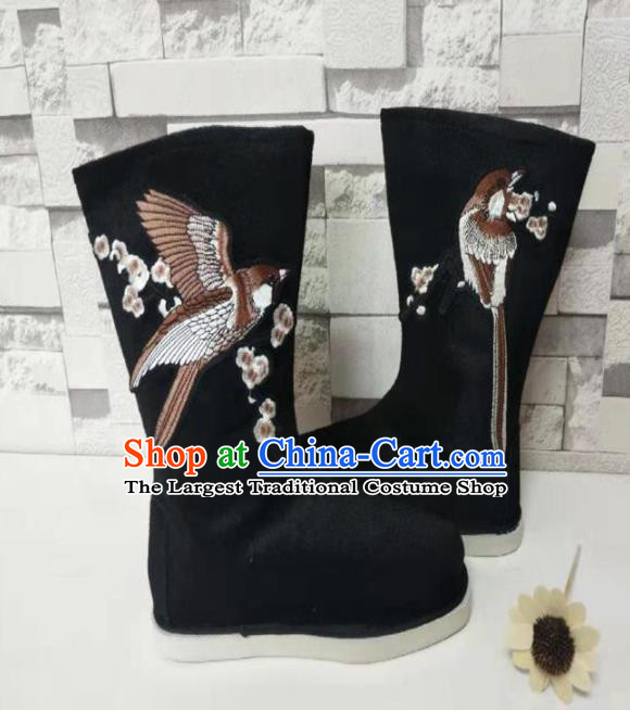 Chinese Traditional Embroidered Bird Black Boots Handmade Hanfu Shoes Ancient Swordsman Shoes for Men