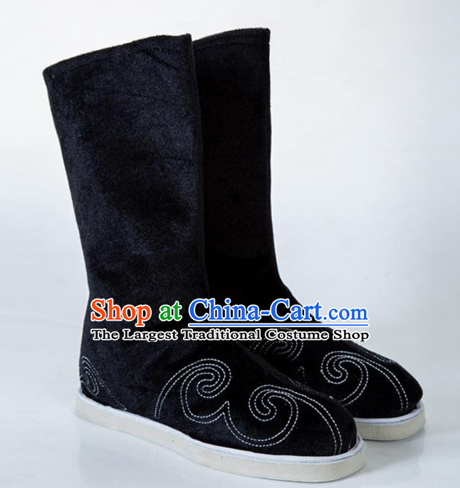 Chinese Traditional Black Embroidered Boots Handmade Hanfu Shoes Ancient Swordsman Shoes for Men