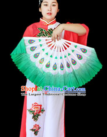 Traditional Chinese Folk Dance Green Ribbon Mulan Fan Stage Performance Yangko Dance Silk Folding Fan