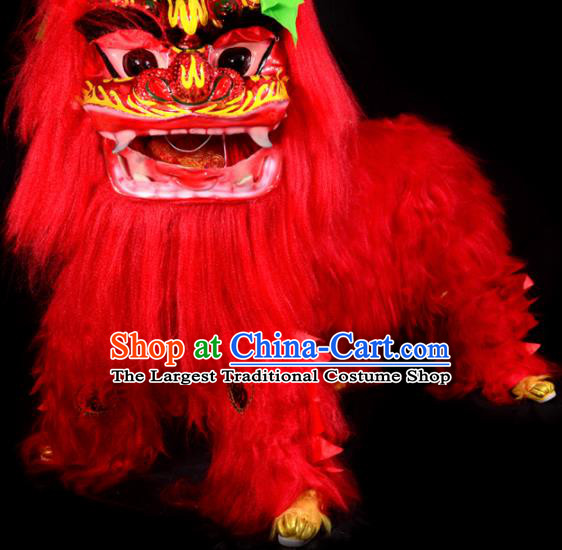 Chinese Traditional Lion Dance Costume Red Fur Lion Head Lantern Festival Folk Dance Prop Complete Set