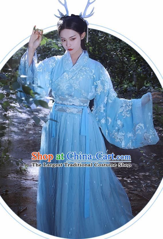 Traditional Chinese Jin Dynasty Imperial Consort Blue Hanfu Dress Ancient Nobility Lady Historical Costumes for Women