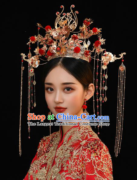Chinese Traditional Ancient Bride Red Venonat Phoenix Coronet Wedding Hair Accessories for Women