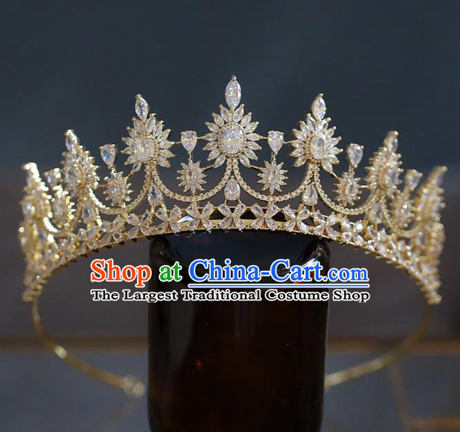 Top Grade Baroque Queen Golden Crystal Royal Crown Wedding Bride Hair Accessories for Women