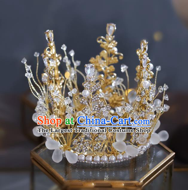 Top Grade Baroque Bride Crystal Pearls Royal Crown Wedding Queen Hair Accessories for Women