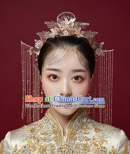Chinese Traditional Hanfu Golden Hair Crown and Phoenix Hairpins Ancient Princess Hair Accessories for Women