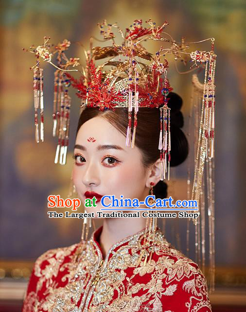 Chinese Traditional Ancient Bride Headdress Red Flowers Phoenix Coronet Wedding Hair Accessories for Women