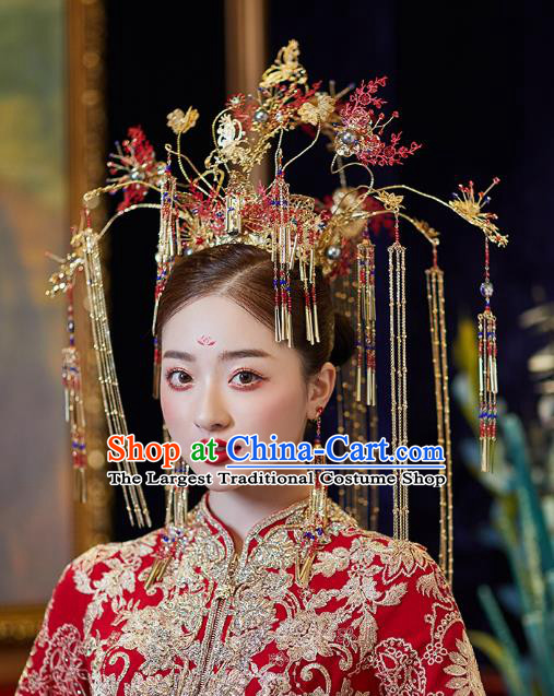 Chinese Traditional Ancient Bride Headdress Red Leaf Tassel Phoenix Coronet Wedding Hair Accessories for Women