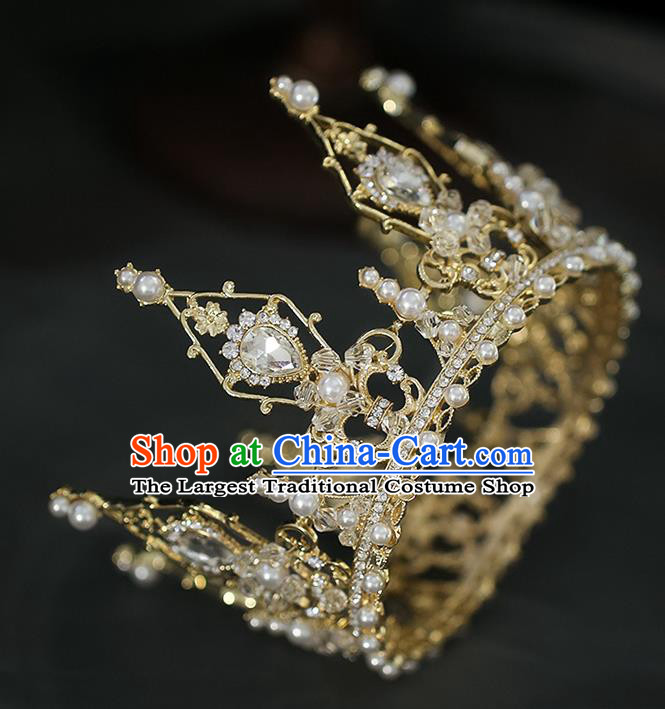 Top Grade Baroque Bride Golden Crystal Round Royal Crown Wedding Queen Hair Accessories for Women