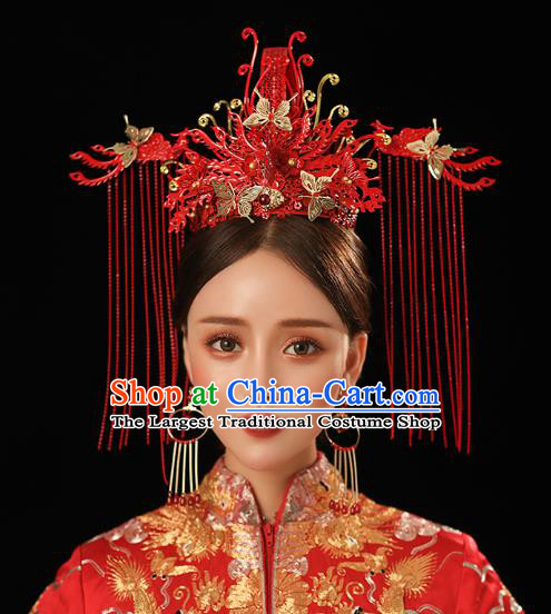 Chinese Traditional Ancient Bride Headdress Red Tassel Phoenix Coronet Wedding Hair Accessories for Women
