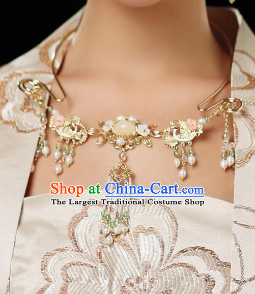 Chinese Ancient Wedding Pearls Tassel Necklace Accessories Traditional Bride Necklet for Women