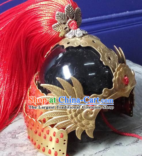 Chinese Traditional Tang Dynasty General Helmet Ancient Soldier Hat Headwear for Men