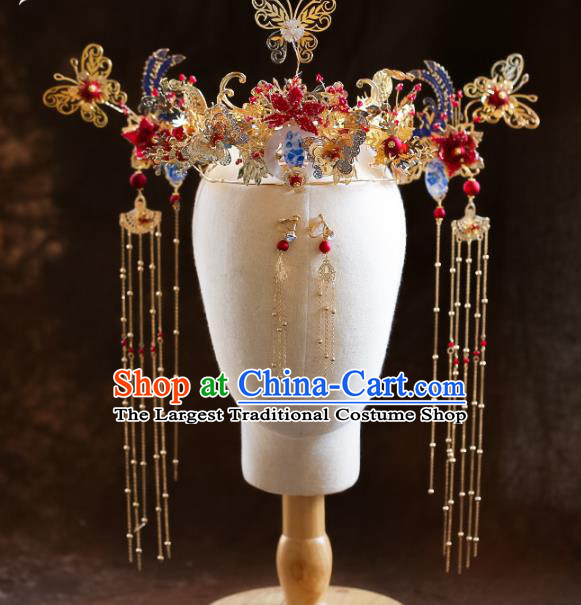 Chinese Ancient Red Pomegranate Flower Phoenix Coronet Hairpins Bride Headdress Traditional Wedding Hair Accessories for Women