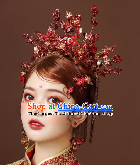 Chinese Ancient Red Flowers Phoenix Coronet Hairpins Bride Headdress Traditional Wedding Hair Accessories for Women