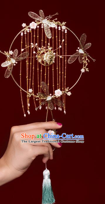 Chinese Traditional Golden Dragonfly Palace Fans Handmade Classical Hanfu Wedding Fan for Women
