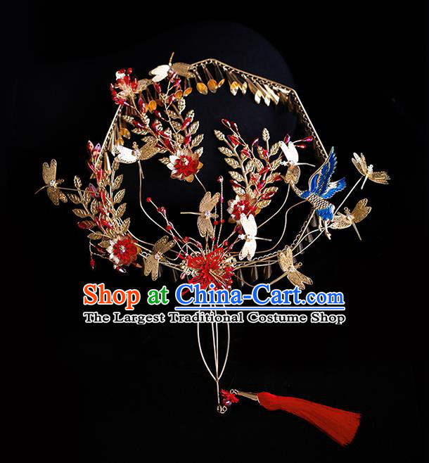 Chinese Traditional Bride Golden Dragonfly Palace Fans Handmade Classical Hanfu Wedding Fan for Women