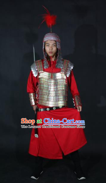 Chinese Traditional Tang Dynasty General Body Armor Ancient Soldier Swordsman Costumes for Men