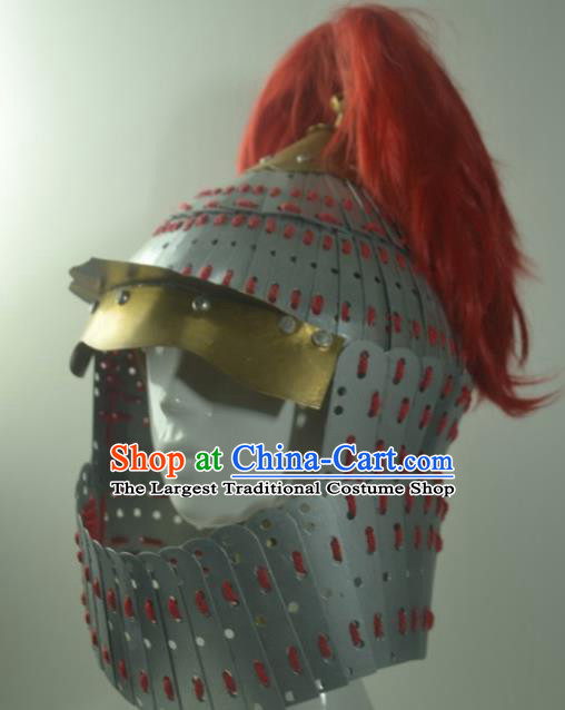 Chinese Traditional Yuan Dynasty General Helmet Ancient Soldier Hat Headwear for Men