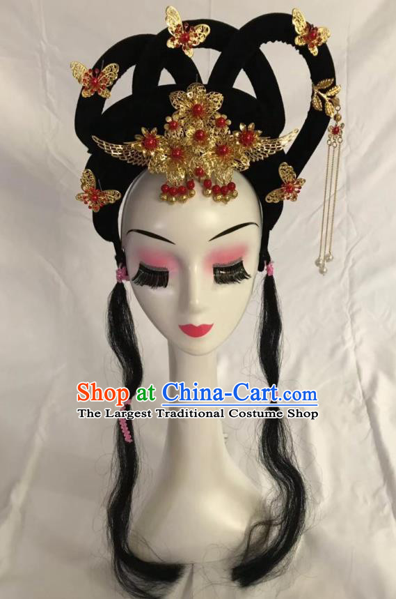 Traditional Chinese Opera Wig Sheath and Hairpins Headdress Peking Opera Diva Hair Accessories for Women