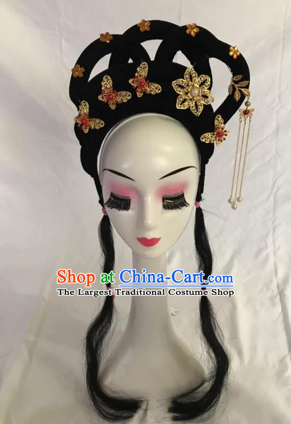 Traditional Chinese Opera Wig Sheath and Butterfly Hairpins Headdress Peking Opera Diva Hair Accessories for Women