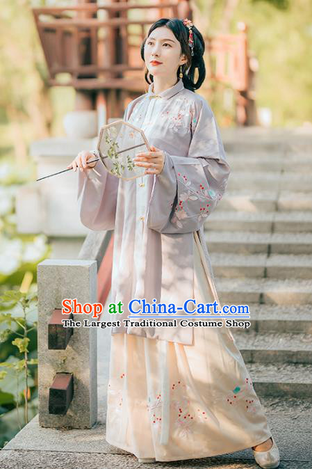 Chinese Traditional Ancient Ming Dynasty Patrician Lady Embroidered Historical Costume Complete Set for Women