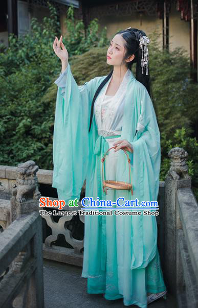 Chinese Ancient Goddess Green Embroidered Dress Traditional Tang Dynasty Patrician Lady Historical Costumes for Women