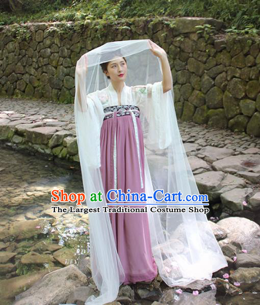 Chinese Ancient Court Lady Embroidered Dress Traditional Tang Dynasty Royal Princess Historical Costumes for Women