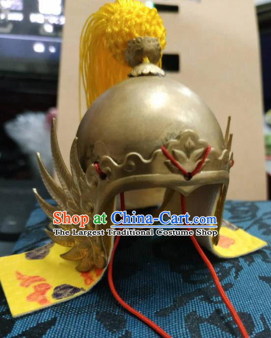 Chinese Traditional Tang Dynasty General Golden Helmet Ancient Soldier Hat Headwear for Men