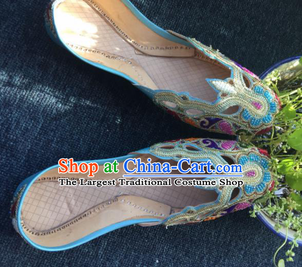 Asian India Traditional Embroidered Blue Leather Shoes Indian Handmade Shoes for Women