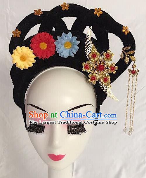 Traditional Chinese Opera Lady Wig Sheath and Hairpins Headdress Peking Opera Diva Hair Accessories for Women
