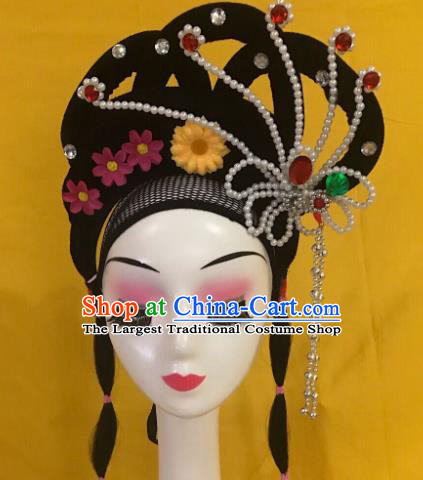 Traditional Chinese Opera Wig Chignon and Hairpins Headdress Peking Opera Diva Hair Accessories for Women