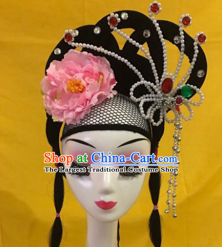 Traditional Chinese Opera Wig Chignon and Pink Peony Hairpins Headdress Peking Opera Diva Hair Accessories for Women