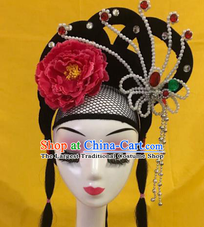 Traditional Chinese Opera Wig Chignon and Red Peony Hairpins Headdress Peking Opera Diva Hair Accessories for Women