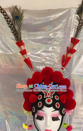 Traditional Chinese Opera Blades Red Phoenix Coronet Headdress Peking Opera Diva Hair Accessories for Kids
