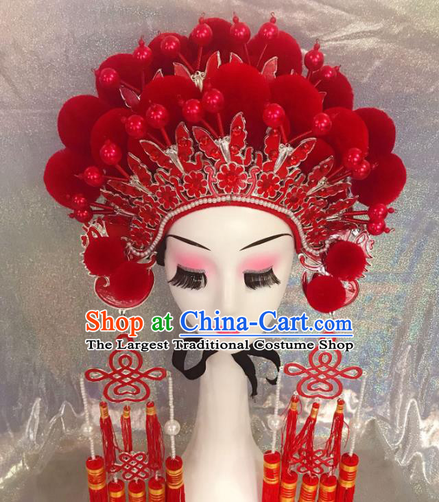 Traditional Chinese Opera Red Butterfly Phoenix Coronet Headdress Peking Opera Diva Hair Accessories for Kids