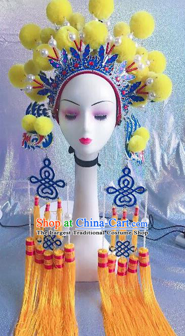 Traditional Chinese Opera Yellow Venonat Phoenix Coronet Headdress Peking Opera Diva Hair Accessories for Kids