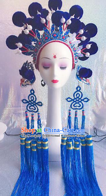Traditional Chinese Opera Blue Venonat Phoenix Coronet Headdress Peking Opera Diva Hair Accessories for Kids