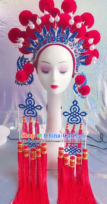 Traditional Chinese Opera Rosy Venonat Phoenix Coronet Headdress Peking Opera Diva Hair Accessories for Kids