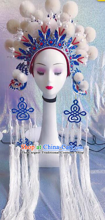 Traditional Chinese Opera White Venonat Phoenix Coronet Headdress Peking Opera Diva Hair Accessories for Kids