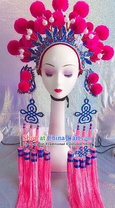 Traditional Chinese Opera Pink Venonat Phoenix Coronet Headdress Peking Opera Diva Hair Accessories for Kids