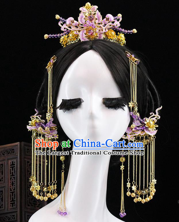 Traditional Chinese Purple Flowers Hairpins Hair Crown Headdress Ancient Queen Hair Accessories Complete Set for Women