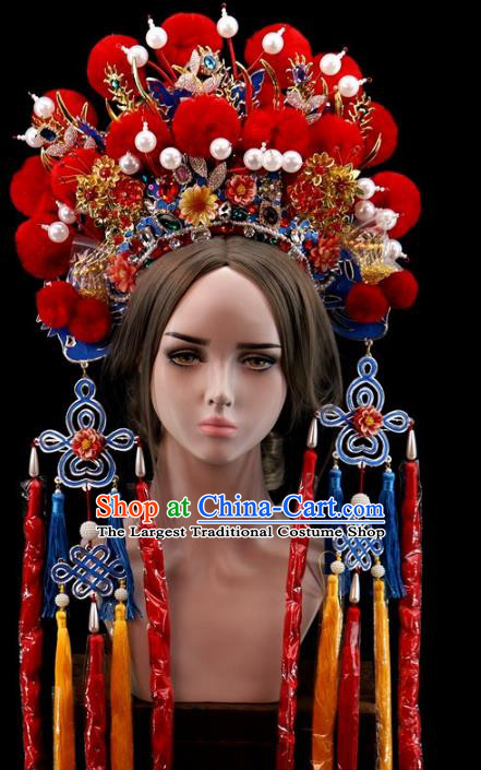 Traditional Chinese Opera Red Venonat Phoenix Coronet Headdress Peking Opera Diva Hair Accessories for Women