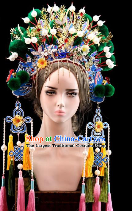 Traditional Chinese Opera Green Venonat Phoenix Coronet Headdress Peking Opera Diva Hair Accessories for Women