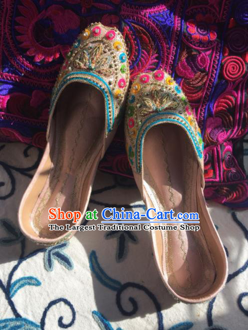 Asian India Traditional Embroidered Beads Pink Leather Shoes Indian Handmade Shoes for Women
