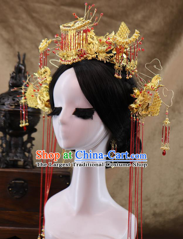 Traditional Chinese Wedding Golden Crane Hair Crown Tassel Hairpins Headdress Ancient Bride Hair Accessories for Women