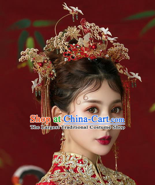 Traditional Chinese Wedding Cloisonne Red Hair Crown Tassel Hairpins Headdress Ancient Bride Hair Accessories for Women